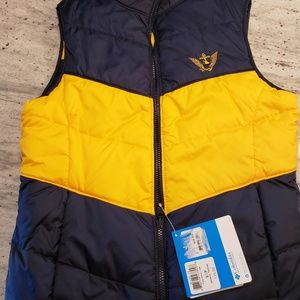 Columbia NAVY Vest all writing embroidered NWT